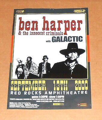 Ben Harper & The Innocent Criminals Poster Original Promo 9x13