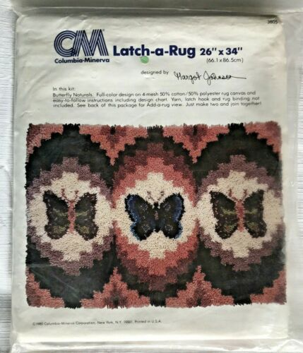 """Columbia Minerva Latch A Rug Butterfly Naturals 26""""x34"""" Vtg 1980 SEALED"""