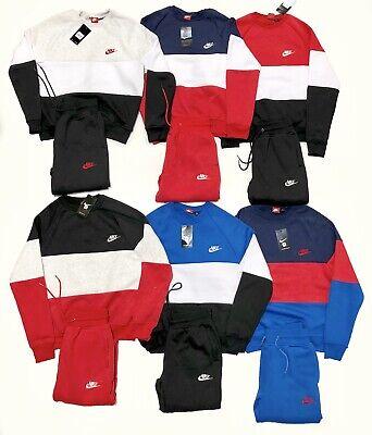Nike Crew Neck Sweat Suit Complete Set Fleece Crew Neck Long Sleeve Joggers