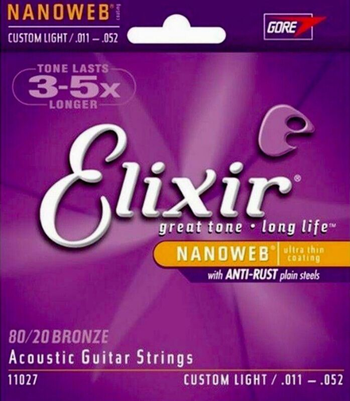 1 Set Elixir 11027   80/20 Bronze Custom Light  Acoustic Guitar Strings 11 - 52