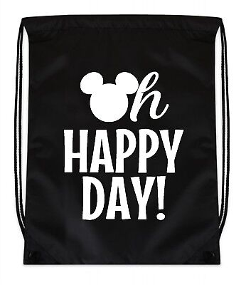 Disney Cinch Bag (Cinch Backpack Bag Black Oh Happy Day Disney Vacation)