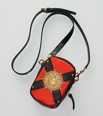 Brand-new Men's Versace Red Harness Print Crossbody Bag (One Size)