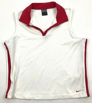 Vintage Nike Damen Ärmelloses Polo Golf Weiß V-Neck Jersey M 8 -10 Tennis