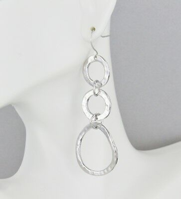 Silver chain link earrings hammered circles 2 7/8