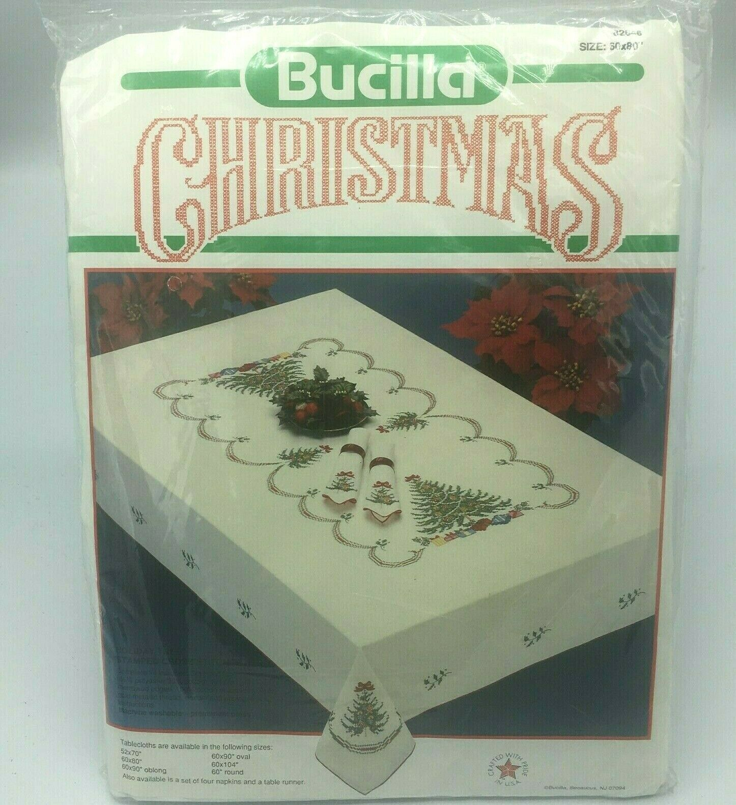 "Bucilla Christmas Cross Stitch Tablecloth 60"" x 80"" 82646 NE"