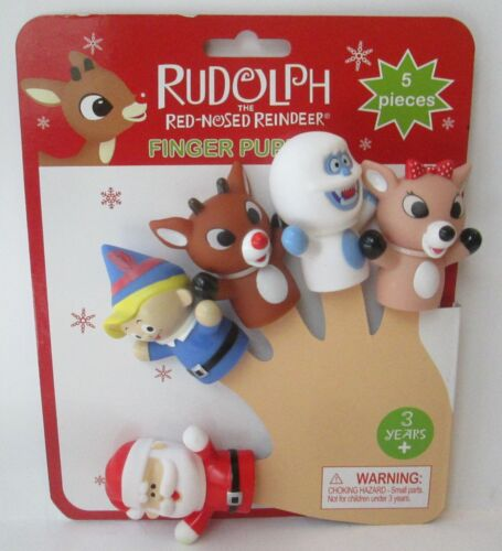 RUDOLPH THE RED NOSED REINDEER FINGER PUPPETS 5 Pieces Christmas Prestige Baby