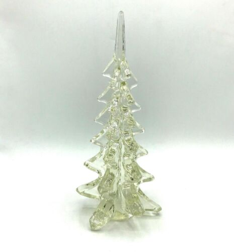 """Vintage Clear Glass Christmas or Pine Tree 10"""" Tall"""