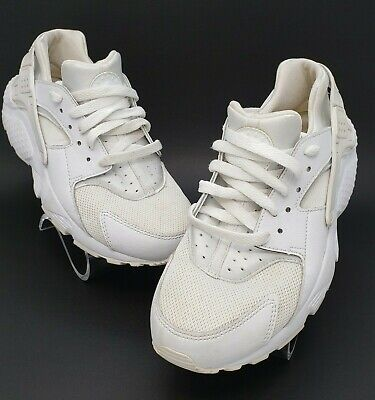 Nike Air Huarache Youth Triple White Sneakers Shoes Size US 6Y UK 5.5 EUR 38.5
