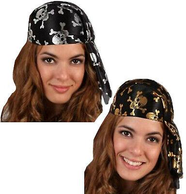 Piraten Hut Kappe Totenkopf Gr.54/55 Cap Kinder Damen Skull silber Gold