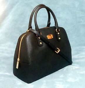 65b8b7a32 Michael Kors Saffiano Leather LG Satchel Bag Black 35S3GSAS3L for ...