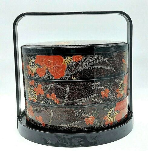 Vintage Plastic Lacquer Jubako Bento Food Storage Box One Lid 3 Tiered W/Carrier