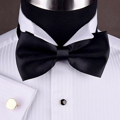 White Tuxedo Shirt Wing Collar Formal Business Dinner Event A Free Black Bow Tie Formal Wing Collar Tuxedo