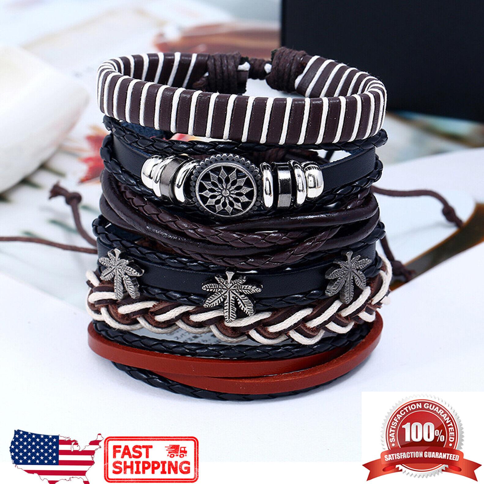 6pcs Set Star of Chaos Punk Rock Leather Men Women Cuff Wristband Bracelet Bracelets