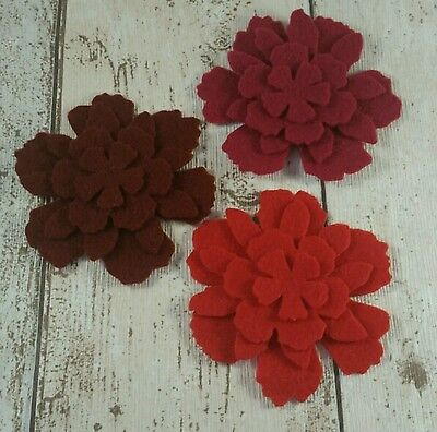 12 shades of Red Flowers die cut in felt for applique, layering, cards,tutus
