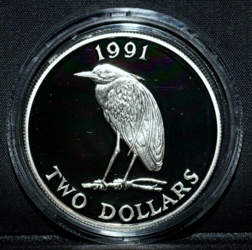 1991 BERMUDA $2 SILVER DOLLARS ✪ COMMEMORATIVE ✪ HERON YELLOW L@@K NOW ◢TRUSTED◣
