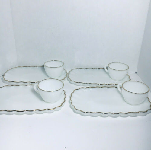 8pc  Vintage Milk Glass Luncheon Snack Plates Cups Set Gold Rim