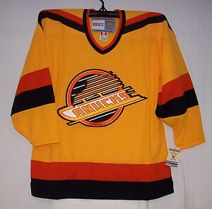 Vintage-1989-Vancouver-Canucks-GOLD-Throwback-CCM-550-Jersey-XL