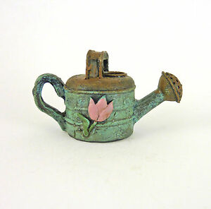 Dollhouse-Miniature-Fairy-Garden-Rustic-Blue-Watering-Can-w-Flower-Design