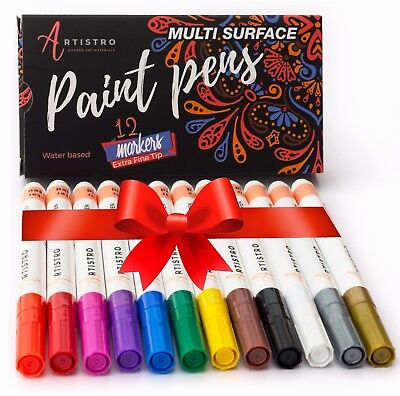 Paint Pens For Rock Painting  Ceramic   More  Extra Fine Tip  Set Of 12 Colors