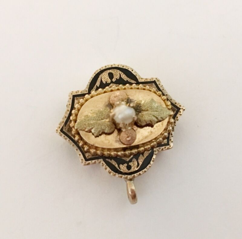 Antique Victorian 14k Watch Slide/Charm With Enamel & Pearl