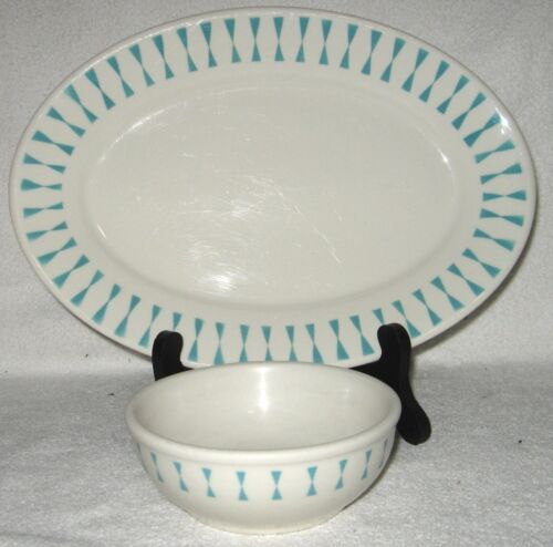 HOMER LAUGHLIN BEST CHINA RESTAURANTWARE TURQUOISE ATOMIC HOURGLASS PLATTER BOWL