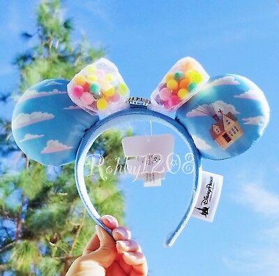 Disney Parks Disneyland Balloons Blue Clouds UP Minnie Ears Headband BNWT ()