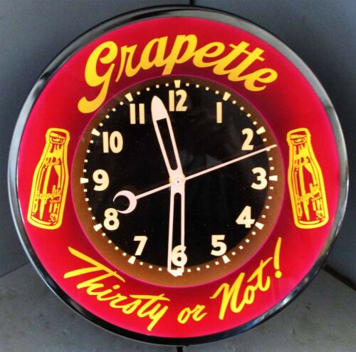 Grapette Thirsty or Not! Neon Clock