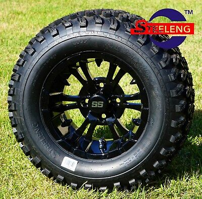 "GOLF CART 12"" Black VAMPIRE WHEELS / RIMS and 23"" All Terrain TIRES (SET OF 4)"