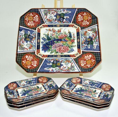 Vtg Set Imari Japanese Porcelain Octagon Platter Tray Peacocks Flowers & Plates