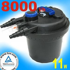 Filtro a pressione cpf180 uvc 8000 laghetto piscina pompa for Pompa filtro laghetto