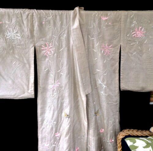 RARE antique shiromuku wedding kimono pale grey silk hand embroidery+padded hem