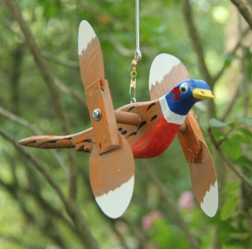 Pheasant Mini Whirligigs Whirligig Windmill Yard Art Hand made from wood