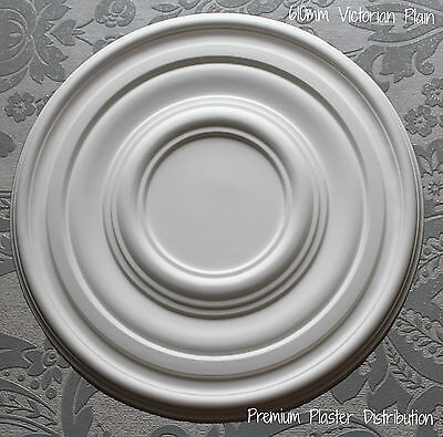"""Plaster Ceiling Rose Plain Traditional Victorian Design 610 mm / 24"""" Hand Made"""