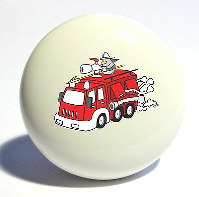 CARTOON RED FIRE TRUCK HOME DECOR CERAMIC KITCHEN  KNOB DRAWER CABINET PULL - Fire Truck Drawer Knob