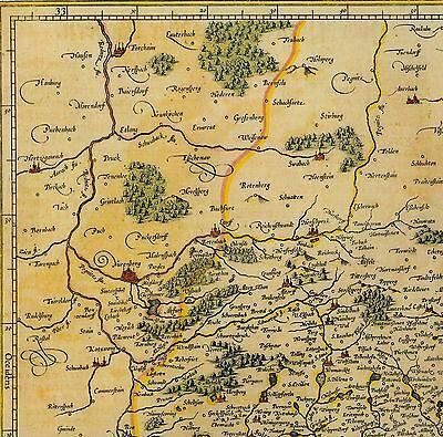 Historische Landkarte Bayern Cham Beilngries Straubing, Neuburg a.d. Donau 1658