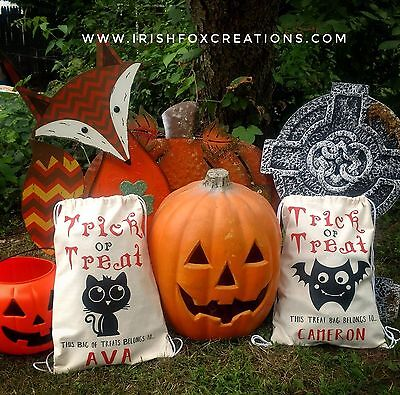 Personalized Black Cat Trick or Treat bag Canvas pull string bag
