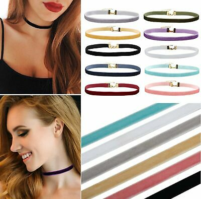 Velvet Choker Necklace Ribbon 90s Retro Vintage Gothic Goth Adjustable USA Fashion Jewelry