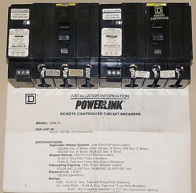1 New Square D Power Link Remote Breaker Ehb-34020pl 3 Pole 20amp 277v