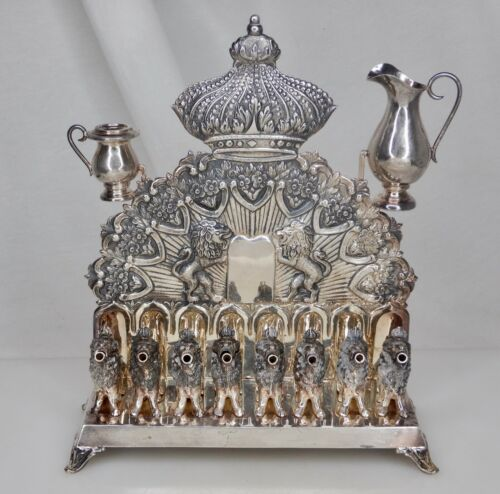 Vintage Judaica 835 Silver Hanukkah Menorah 910g -  83949