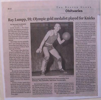 Obituary  Boston Globe 1 26 15 Ray Lumpp  91  Olympic Gold Medal Basketball