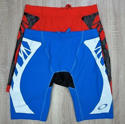 Lot of 2 Oakley Blade Compression Gripper Rash Guard Shorts Blue ()