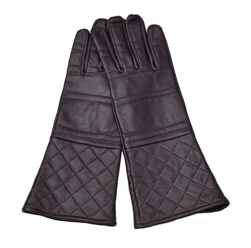 Quilted Padded Fencing Long Arm Cuff Leather Medieval Gloves