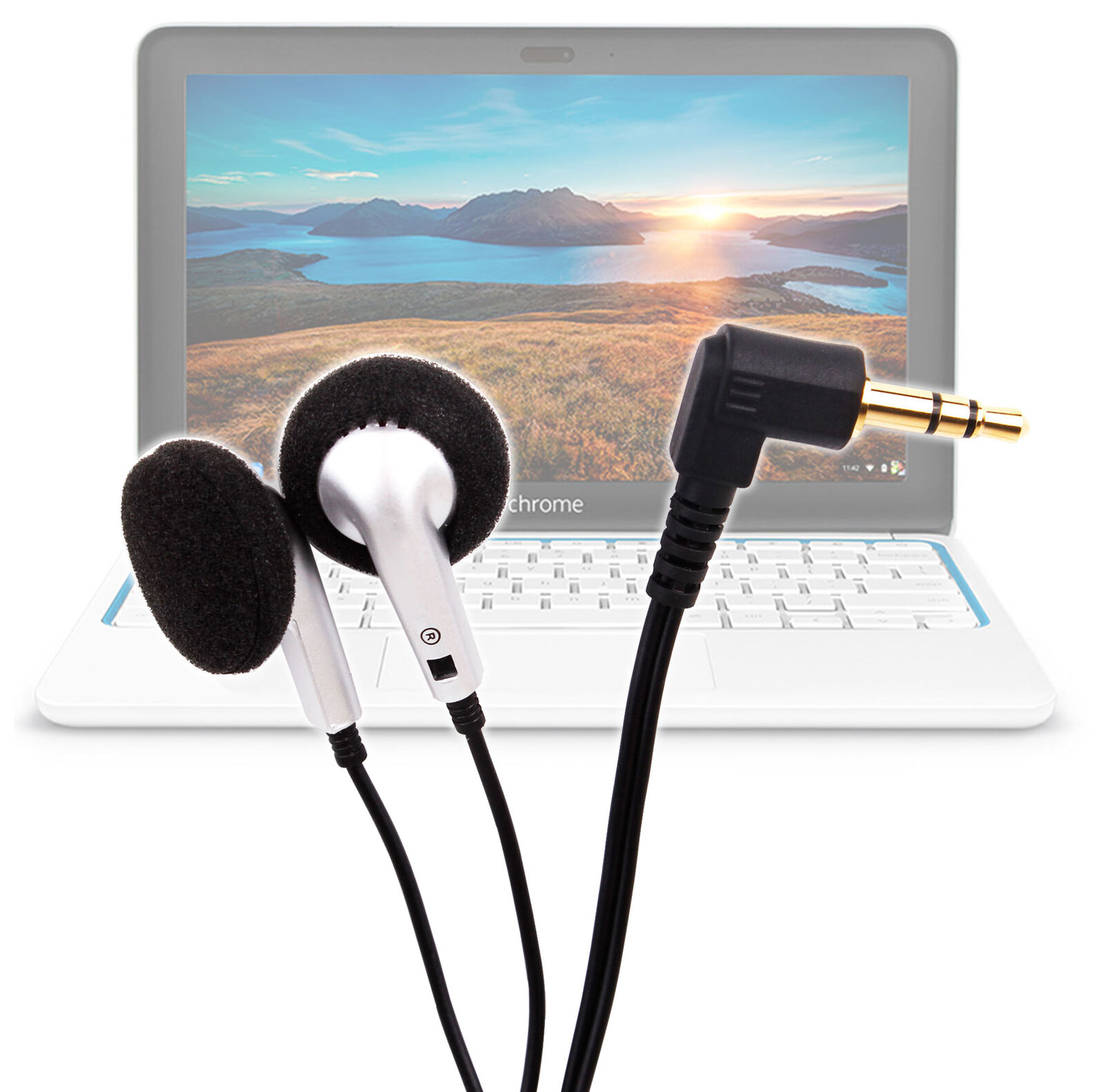 Black & Silver Earphones/Headphones with Premium Audio for H