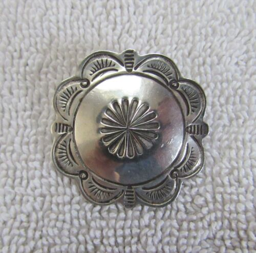 Sterling Silver Navajo Indian Conch Pattern Design Pin Brooch Die Stamped Marks