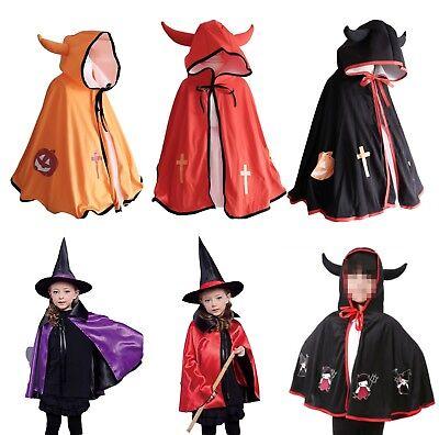 Halloween Kostüm Umhang Kinder Teufel Kapuze Hörnern Hexe M1