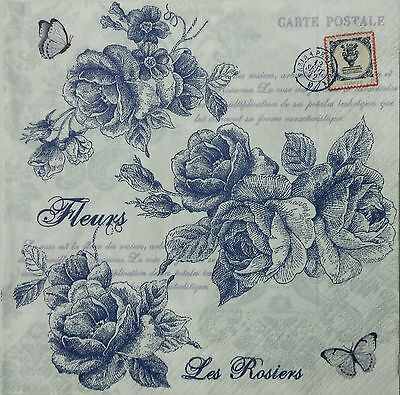 BLUE ROSES VINTAGE 2 individual LUNCH SIZE paper napkins for decoupage 3-ply