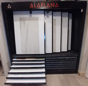 Tile Display with sliding panels and pull out drawers