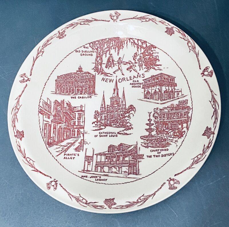 Vintage Souvenir Plate Vernon Kilns New Orleans  Hausmann