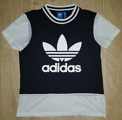 "WOMEN'S MESH TRIM ADIDAS ORIGINALS GYM SPORT TOP (SIZE UK 8 / 10 = 38"" chest) for sale  Shipping to Nigeria"
