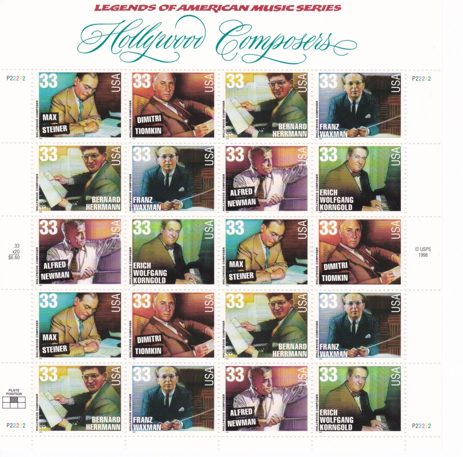 Scott 3339-3344 - US Sheet Of 20 - HOLLYWOOD COMPOSERS - MNH - 1999 - $9.50